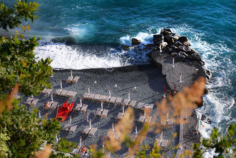 La spiaggia dell'Hotel Cenobio dei Dogi